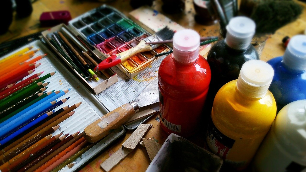 painting, pencils, pens