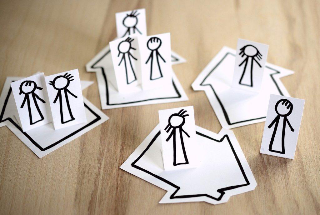 people, cartoon, social distance